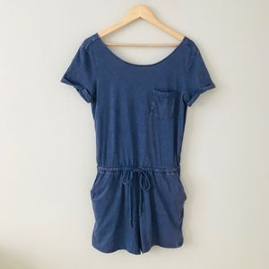 Artisan NY Blue Romper V Shaped Back